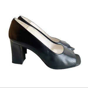 SACHA LONDON Vtg Heels Black Peep Toe Shoes 7.5